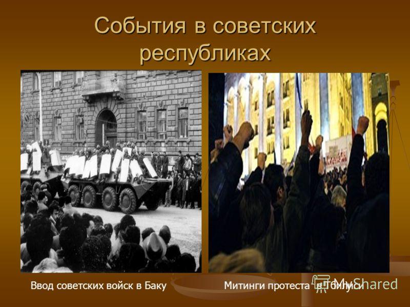 События в советских республиках Митинги протеста в ТбилисиВвод советских войск в Баку
