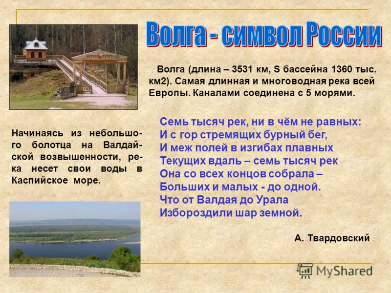 Волга (длина – 3531 км, S бассейна 1360 тыс. км2). Самая длинная и многоводная река всей Европы. Каналами соединена с 5 морями. Начинаясь из небольшо- го болотца на Валдай- ской возвышенности, ре- ка несет свои воды в Каспийское море. Семь тысяч рек,