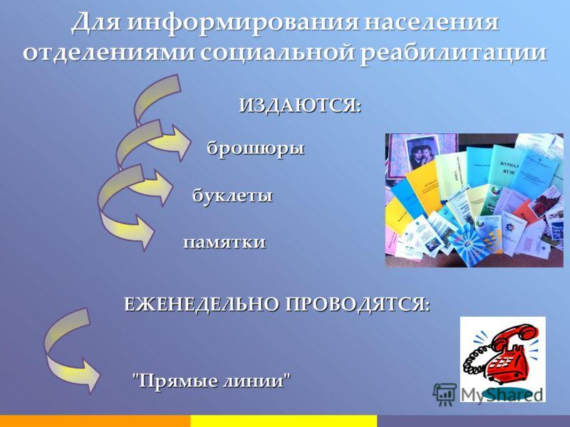 Для информирования населения отделениями социальной реабилитации брошюры буклеты памятки ИЗДАЮТСЯ: ЕЖЕНЕДЕЛЬНО ПРОВОДЯТСЯ: Прямые линии