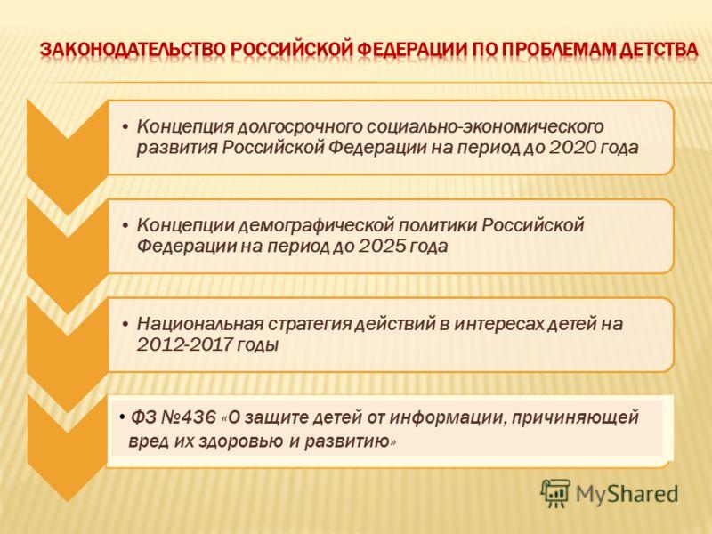 Концепция долгосрочного социально-экономического развития Российской Федерации на период до 2020 года Концепции демографической политики Российской Федерации на период до 2025 года Национальная стратегия действий в интересах детей на 2012-2017 годы Ф