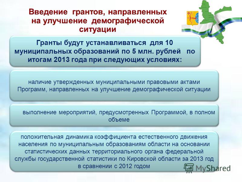 Гранты будут устанавливаться для 10 муниципальных образований по 5 млн. рублей по итогам 2013 года при следующих условиях: положительная динамика коэффициента естественного движения населения по муниципальным образованиям области на основании статист