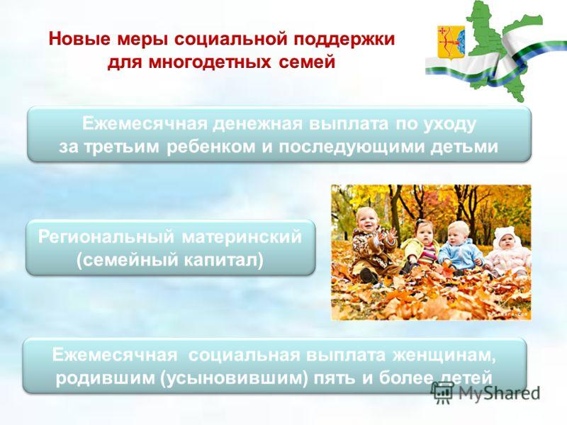 Ежемесячная денежная выплата по уходу за третьим ребенком и последующими детьми Ежемесячная денежная выплата по уходу за третьим ребенком и последующими детьми Региональный материнский (семейный капитал) Ежемесячная социальная выплата женщинам, родив