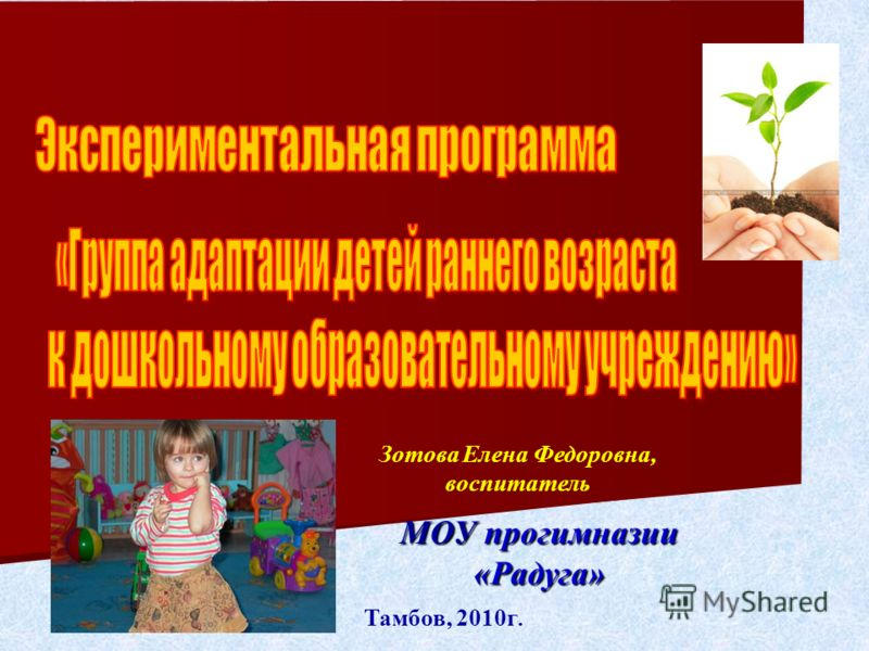 Тамбов, 2010г. МОУ прогимназии «Радуга» Зотова Елена Федоровна, воспитатель