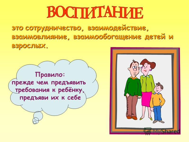 этосотрудничество, взаимодействие, взаимовлияние, взаимообогащение детей и взрослых. это сотрудничество, взаимодействие, взаимовлияние, взаимообогащение детей и взрослых. Правило: прежде чем предъявить требования к ребёнку, предъяви их к себе