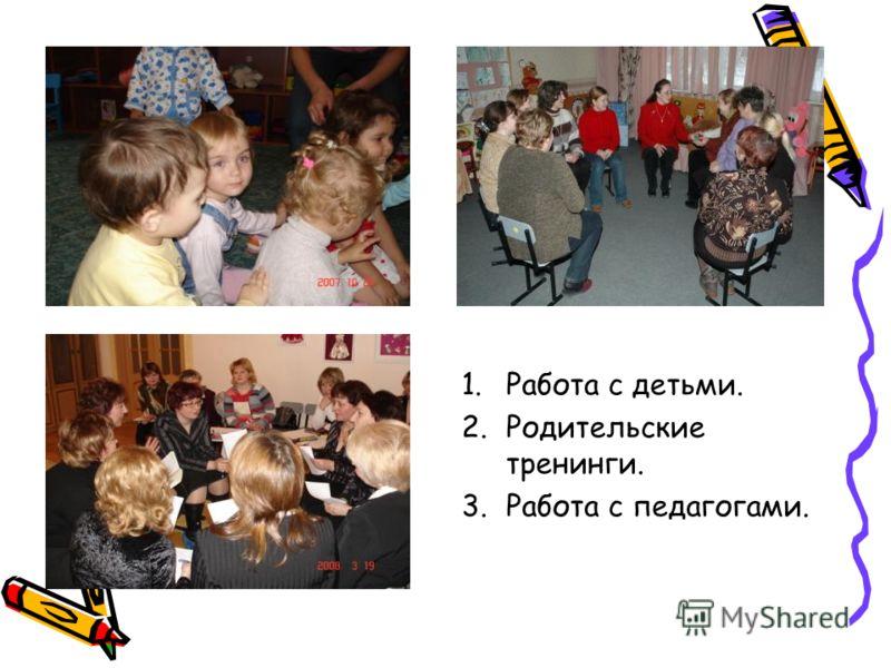 1.Работа с детьми. 2.Родительские тренинги. 3.Работа с педагогами.