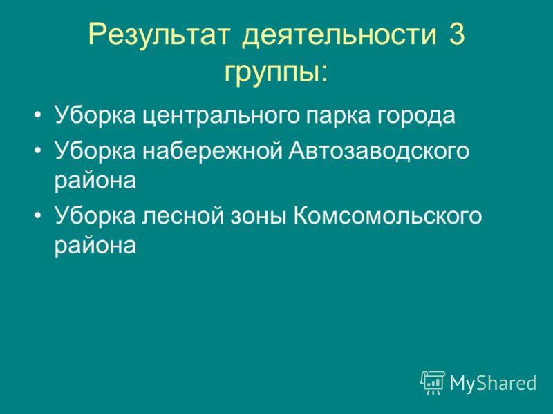 Результат деятельности 3 группы: Уборка центрального парка города Уборка набережной Автозаводского района Уборка лесной зоны Комсомольского района