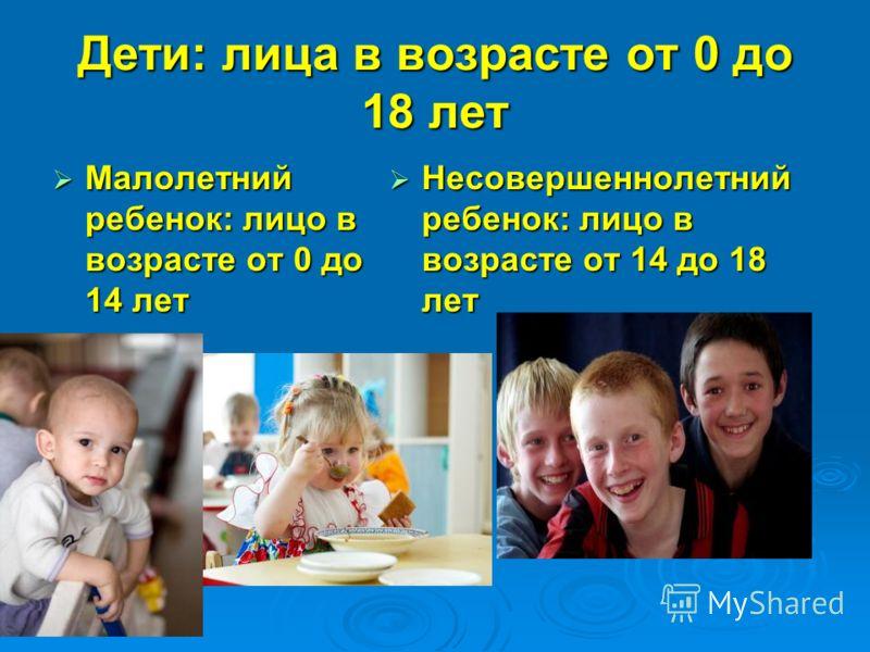 Дети: лица в возрасте от 0 до 18 лет Малолетний ребенок: лицо в возрасте от 0 до 14 лет Малолетний ребенок: лицо в возрасте от 0 до 14 лет Несовершеннолетний ребенок: лицо в возрасте от 14 до 18 лет Несовершеннолетний ребенок: лицо в возрасте от 14 д