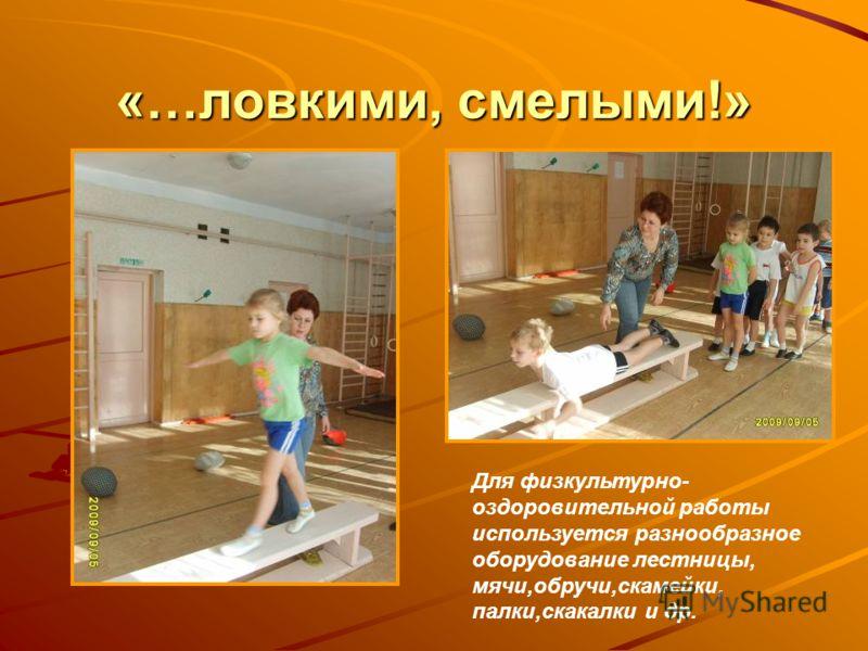 «…ловкими, смелыми!» Для физкультурно- оздоровительной работы используется разнообразное оборудование лестницы, мячи,обручи,скамейки, палки,скакалки и др.