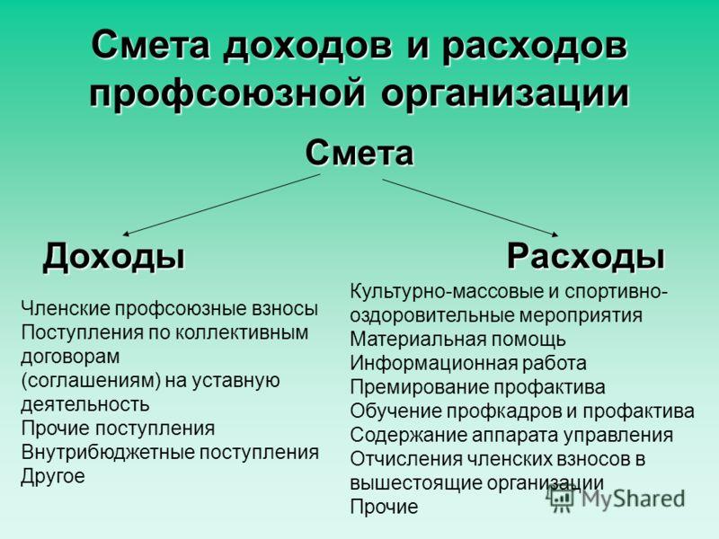 смета профсоюзной организации образец заполнения img-1