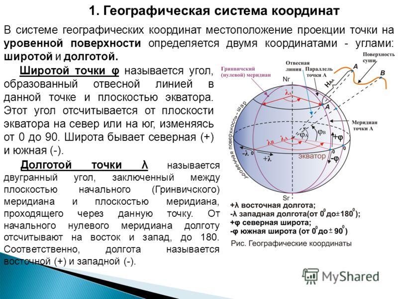 1. Географическая система координат В системе географических координат местоположение проекции точки на уровенной поверхности определяется двумя координатами - углами: широтой и долготой. Широтой точки φ называется угол, образованный отвесной линией