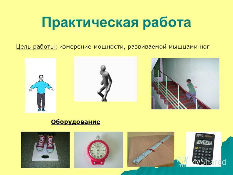 Практическая работа Цель работы: измерение мощности, развиваемой мышцами ног. Оборудование