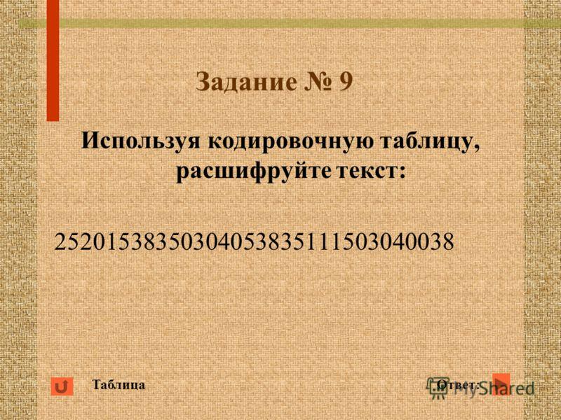 Задание 9 Используя кодировочную таблицу, расшифруйте текст: 25201538350304053835111503040038 ТаблицаОтвет:
