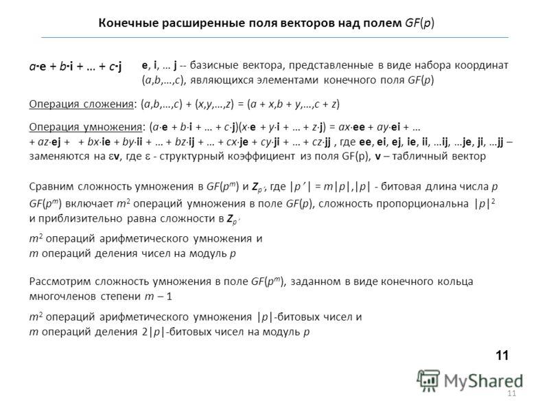 Конечные расширенные поля векторов над полем GF(p) a e + b i + … + c j e, i, … j -- базисные вектора, представленные в виде набора координат (a,b,…,c), являющихся элементами конечного поля GF(p) Операция сложения: (a,b,…,c) + (x,y,…,z) = (a + x,b + y