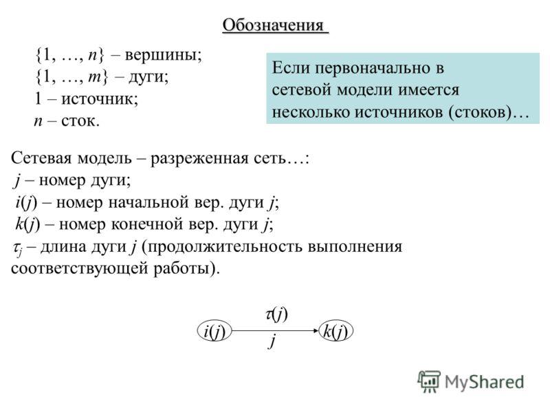 Обозначения Сетевая модель – разреженная сеть…: j – номер дуги; i(j) – номер начальной вер. дуги j; k(j) – номер конечной вер. дуги j; j – длина дуги j (продолжительность выполнения соответствующей работы). i(j)i(j)k(j)k(j) j (j) {1, …, n} – вершины;