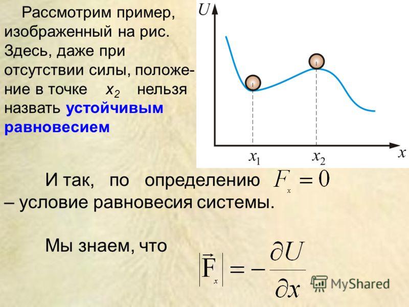 И так, по определению – условие равновесия системы. Мы знаем, что Рассмотрим пример, изображенный на рис. Здесь, даже при отсутствии силы, положе- ние в точке x 2 нельзя назвать устойчивым равновесием
