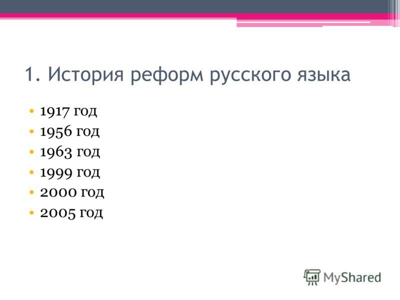 1. История реформ русского языка 1917 год 1956 год 1963 год 1999 год 2000 год 2005 год
