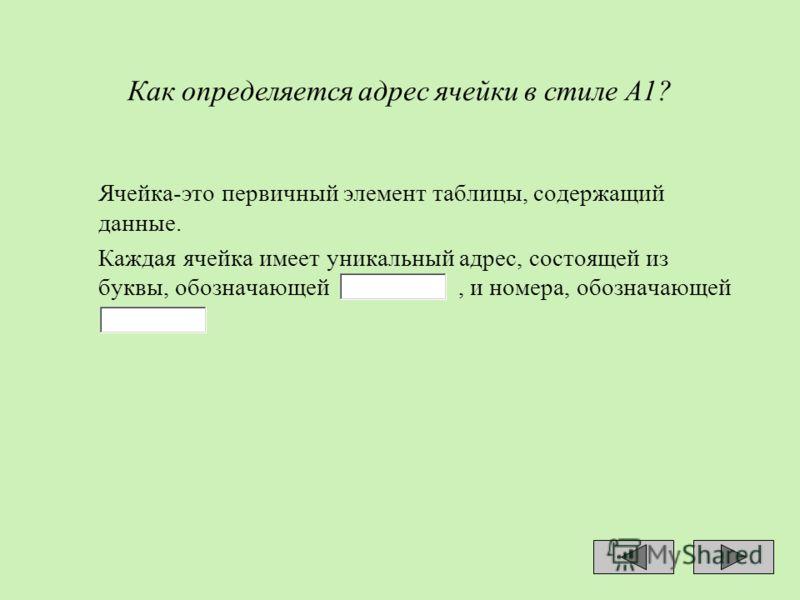 Как определяется адрес ячейки в стиле А1? Ячейка-это первичный элемент таблицы, содержащий данные. Каждая ячейка имеет уникальный адрес, состоящей из буквы, обозначающей, и номера, обозначающей