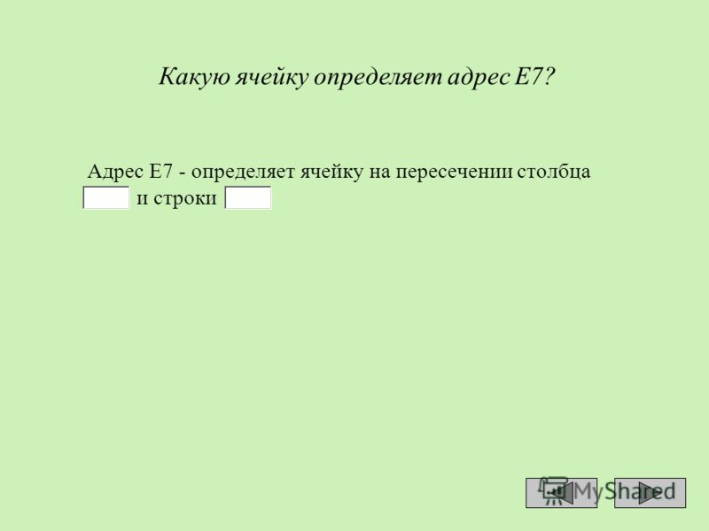 Какую ячейку определяет адрес Е7? Адрес Е7 - определяет ячейку на пересечении столбца и строки