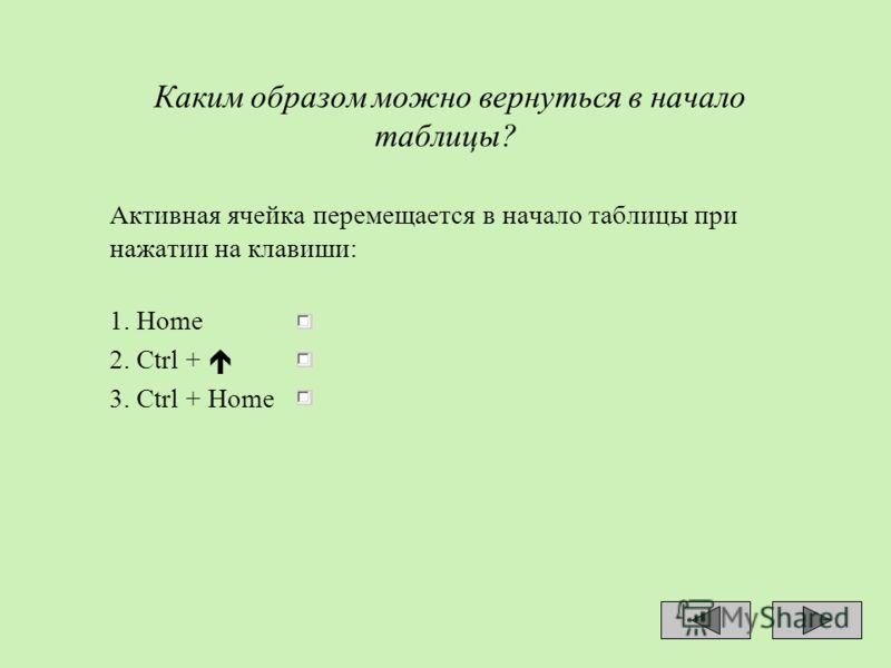 Каким образом можно вернуться в начало таблицы? Активная ячейка перемещается в начало таблицы при нажатии на клавиши: 1. Home 2. Ctrl + 3. Ctrl + Ноmе