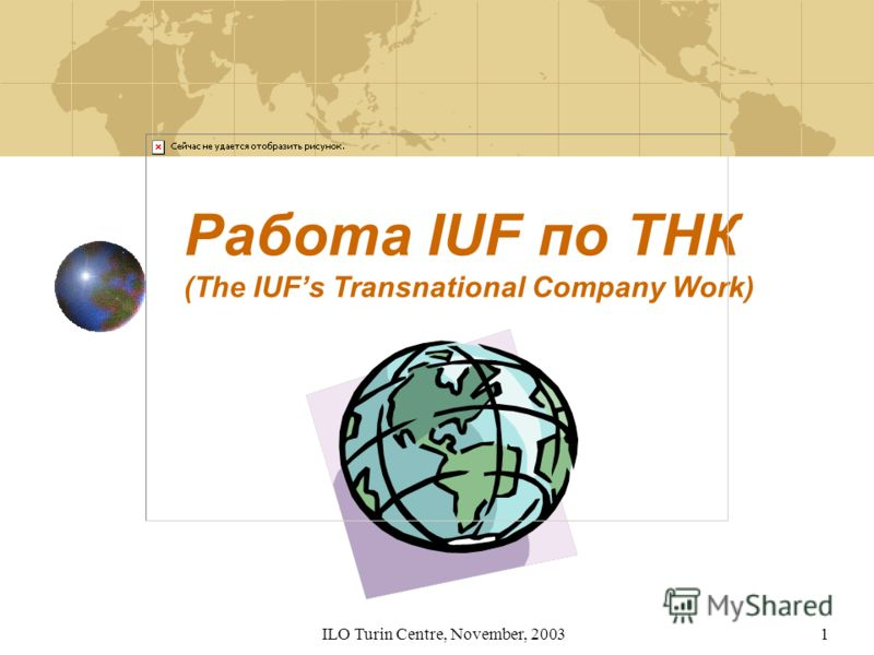 ILO Turin Centre, November, 20031 Работа IUF по ТНК (The IUFs Transnational Company Work)