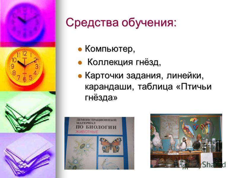 Средства обучения: Компьютер, Компьютер, Коллекция гнёзд, Коллекция гнёзд, Карточки задания, линейки, карандаши, таблица «Птичьи гнёзда» Карточки задания, линейки, карандаши, таблица «Птичьи гнёзда»