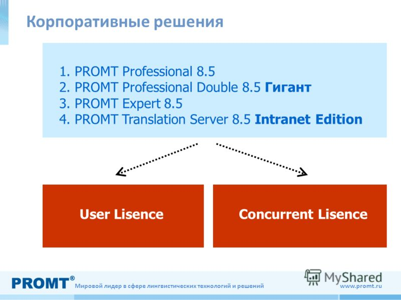 Мировой лидер в сфере лингвистических технологий и решений www.promt.ru 1. PROMT Professional 8.5 2. PROMT Professional Double 8.5 Гигант 3. PROMT Expert 8.5 4. PROMT Translation Server 8.5 Intranet Edition User LisenceConcurrent Lisence Корпоративны