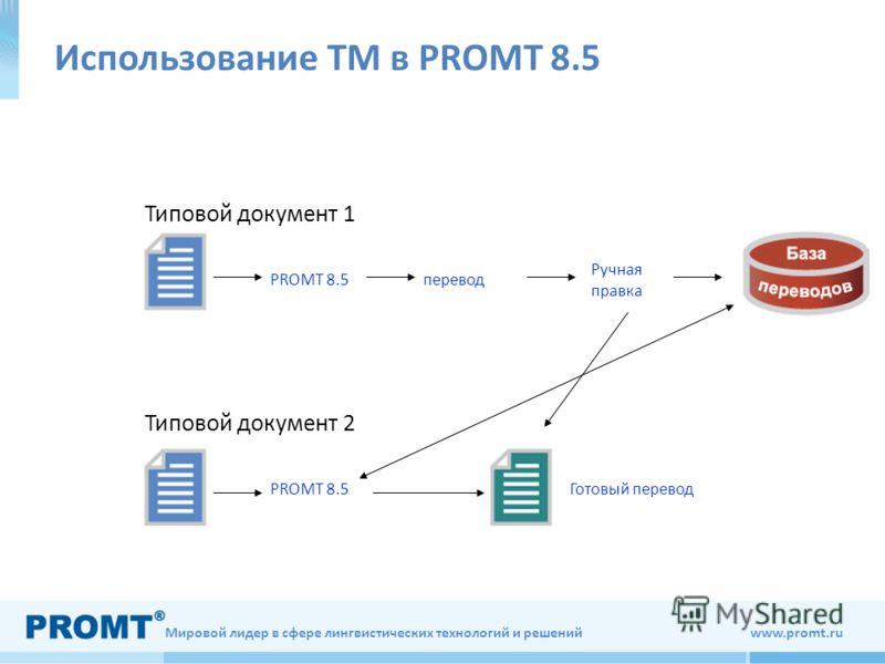 Мировой лидер в сфере лингвистических технологий и решений www.promt.ru Использование ТМ в PROMT 8.5 Типовой документ 1 Типовой документ 2 PROMT 8.5 перевод Ручная правка Готовый перевод