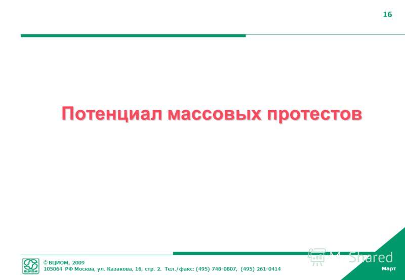 © ВЦИОМ, 2009 105064 РФ Москва, ул. Казакова, 16, стр. 2. Тел./факс: (495) 748-0807, (495) 261-0414 Март 16 Потенциал массовых протестов