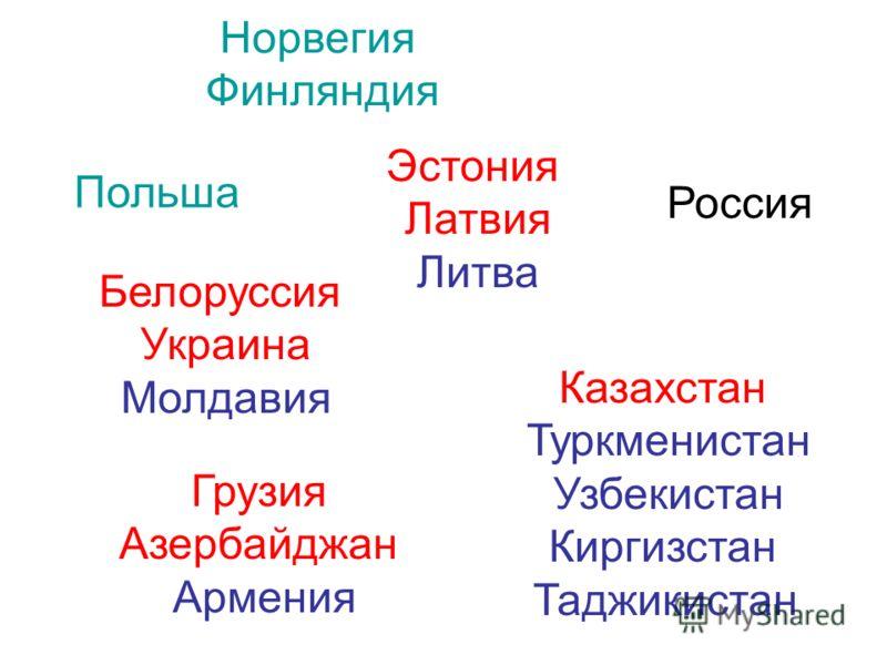 Казахстан Туркменистан Узбекистан Киргизстан Таджикистан Грузия Азербайджан Армения Норвегия Финляндия Эстония Латвия Литва Белоруссия Украина Молдавия Польша Россия
