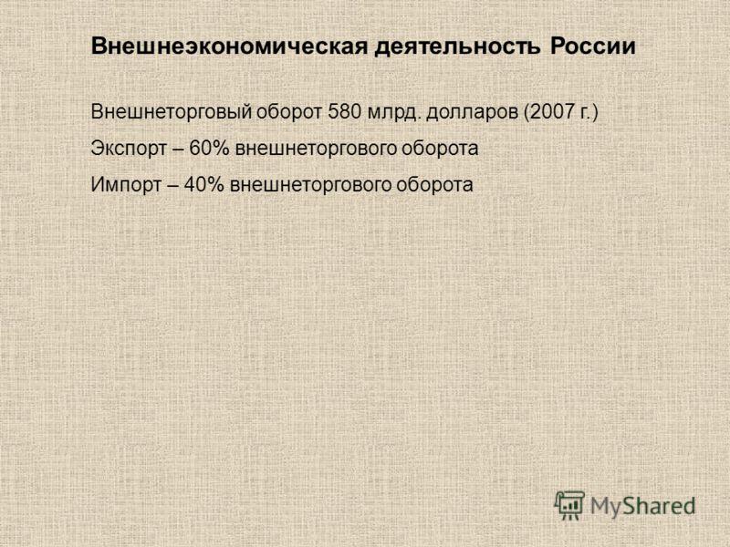 Внешнеэкономическая деятельность России Внешнеторговый оборот 580 млрд. долларов (2007 г.) Экспорт – 60% внешнеторгового оборота Импорт – 40% внешнеторгового оборота