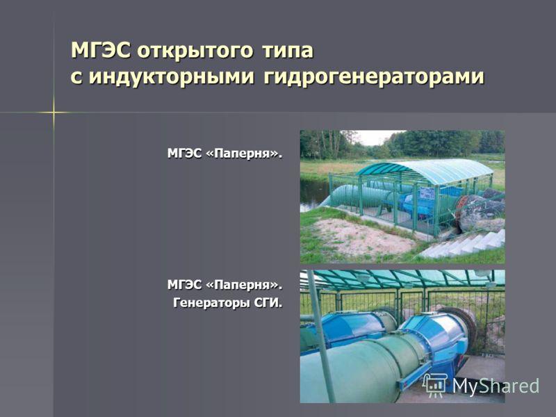 МГЭС «Паперня». Генераторы СГИ. МГЭС открытого типа с индукторными гидрогенераторами