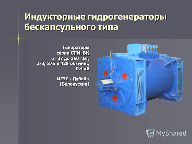 Индукторные гидрогенераторы бескапсульного типа Генераторы серии СГИ-БК от 37 до 350 кВт, 273, 375 и 428 об/мин., 0,4 кВ МГЭС «Дубой» (Белоруссия)