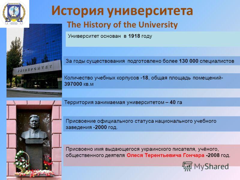 История университета The History of the University Университет основан в 1918 году Присвоение официального статуса национального учебного заведения -2000 год. Присвоено имя выдающегося украинского писателя, учёного, общественного деятеля Олеся Терент