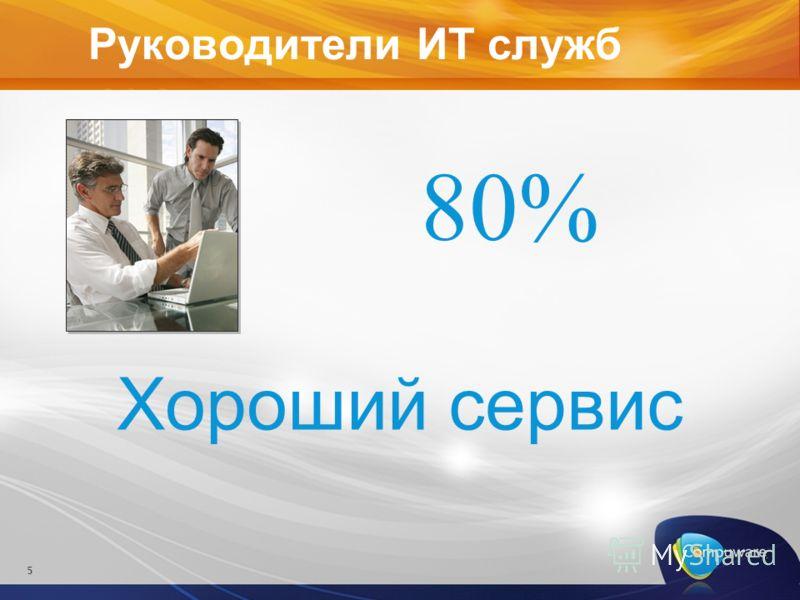 Руководители ИТ служб 5 Хороший сервис 80%