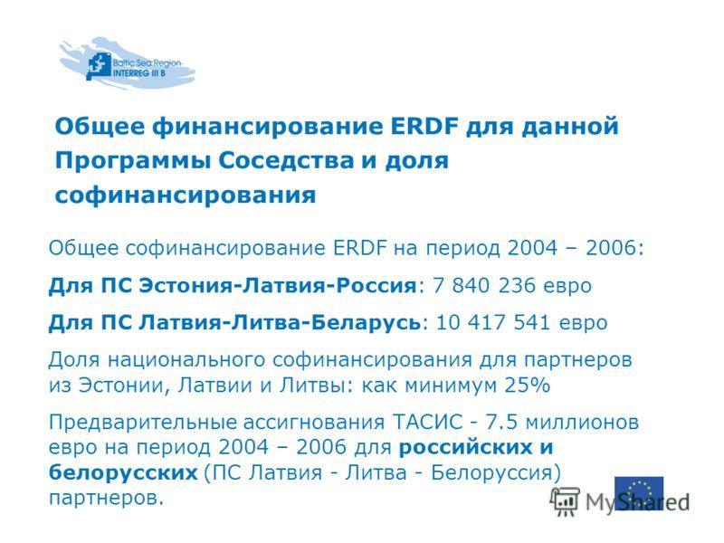 Общее финансирование ERDF для данной Программы Соседства и доля софинансирования Общее софинансирование ERDF на период 2004 – 2006: Для ПС Эстония-Латвия-Россия: 7 840 236 евро Для ПС Латвия-Литва-Беларусь: 10 417 541 евро Доля национального софинанс