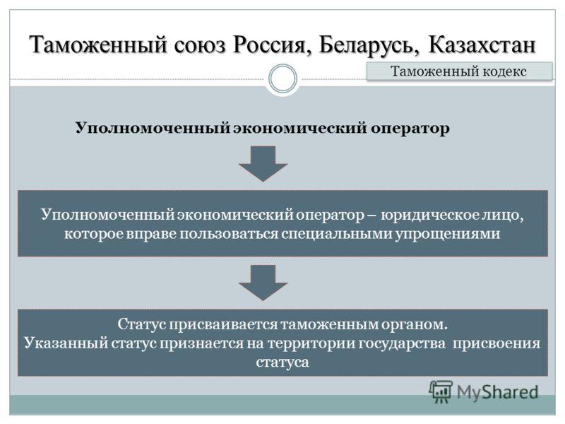 Таможенный союз Россия, Беларусь, Казахстан Уполномоченный экономический оператор Таможенный кодекс Уполномоченный экономический оператор – юридическое лицо, которое вправе пользоваться специальными упрощениями Статус присваивается таможенным органом