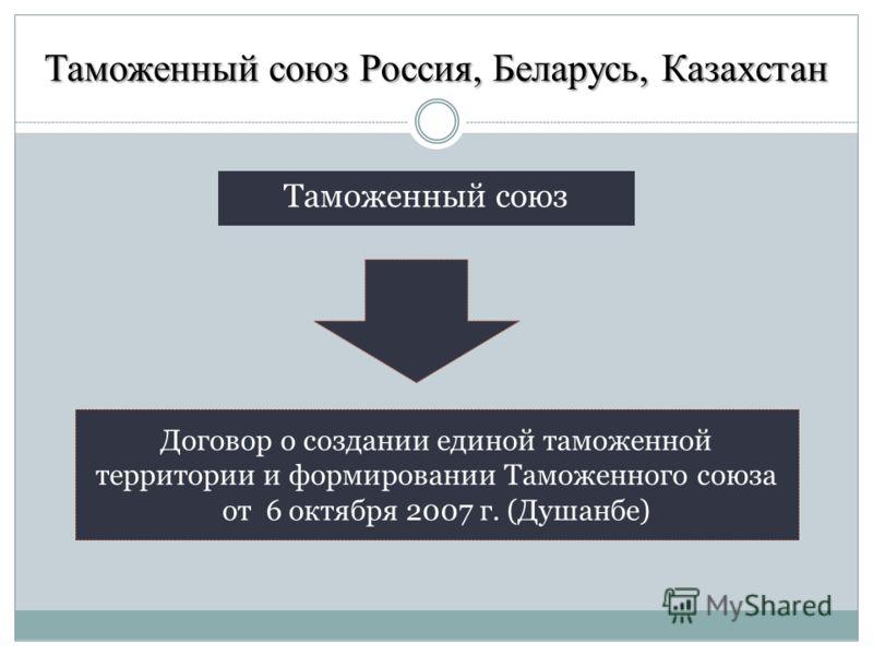 Таможенный союз Россия, Беларусь, Казахстан Таможенный союз Договор о создании единой таможенной территории и формировании Таможенного союза от 6 октября 2007 г. (Душанбе)