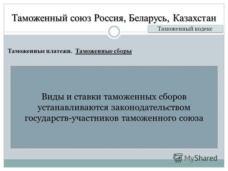 Таможенный союз Россия, Беларусь, Казахстан Таможенные платежи. Таможенные сборы Таможенный кодекс Виды и ставки таможенных сборов устанавливаются законодательством государств-участников таможенного союза