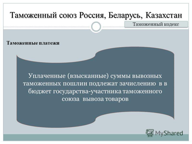 Таможенный союз Россия, Беларусь, Казахстан Таможенные платежи Таможенный кодекс Уплаченные (взысканные) суммы вывозных таможенных пошлин подлежат зачислению в в бюджет государства-участника таможенного союза вывоза товаров