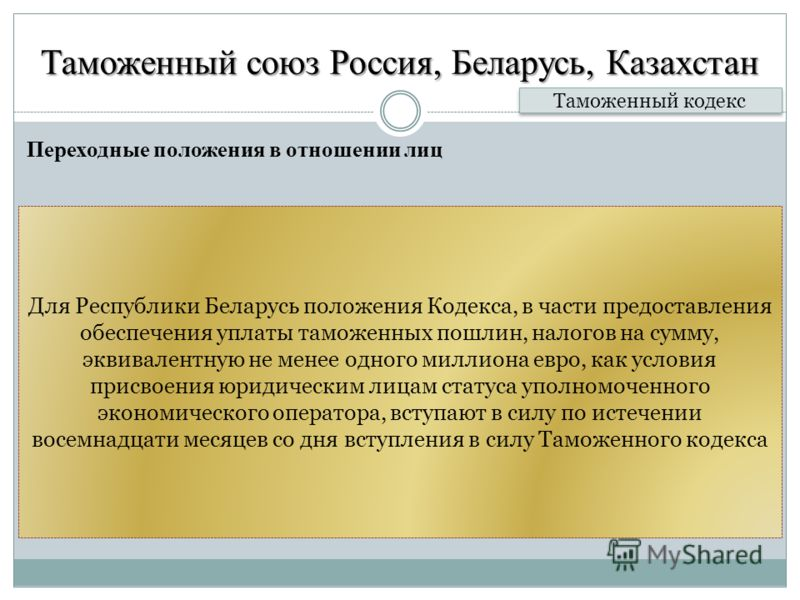 Таможенный союз Россия, Беларусь, Казахстан Переходные положения в отношении лиц Таможенный кодекс Для Республики Беларусь положения Кодекса, в части предоставления обеспечения уплаты таможенных пошлин, налогов на сумму, эквивалентную не менее одного