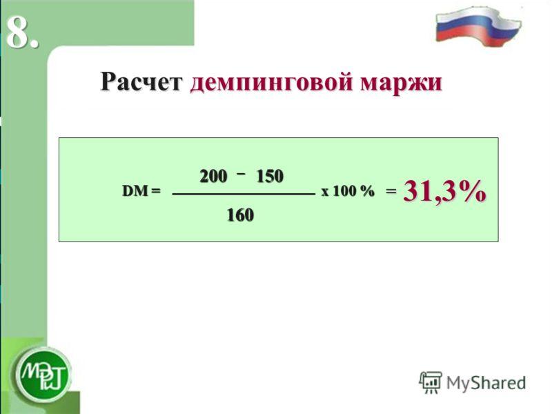 Расчет демпинговой маржи – DM = х 100 % – DM = х 100 % 31,3% NV EXW EP EXW EP CIP = 200 200150 160