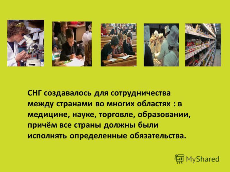 СНГ создавалось для сотрудничества между странами во многих областях : в медицине, науке, торговле, образовании, причём все страны должны были исполнять определенные обязательства.