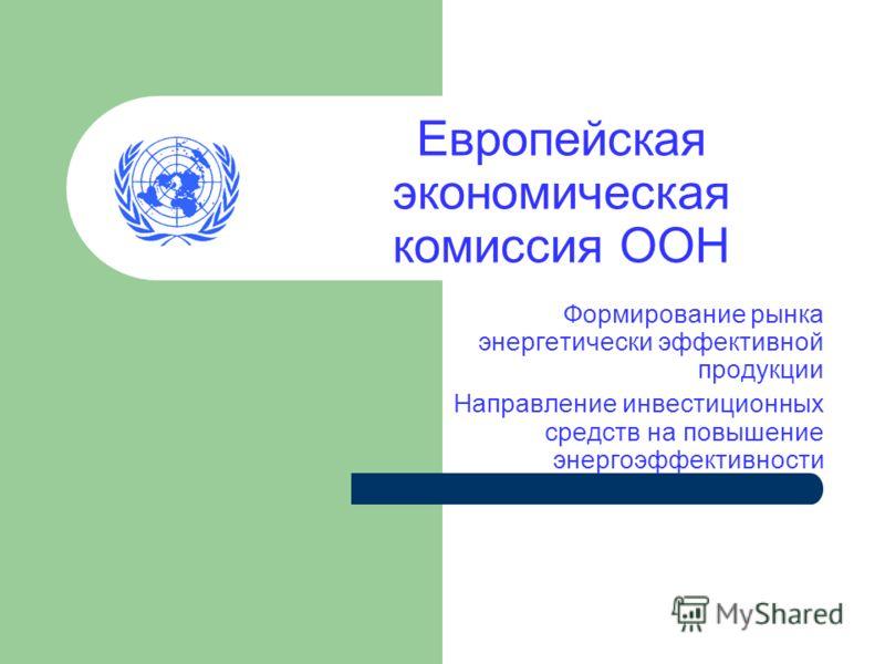 Европейская экономическая комиссия ООН Формирование рынка энергетически эффективной продукции Направление инвестиционных средств на повышение энергоэффективности