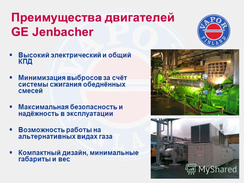 Преимущества двигателей GE Jenbacher Высокий электрический и общий КПД Минимизация выбросов за счёт системы сжигания обеднённых смесей Максимальная безопасность и надёжность в эксплуатации Возможность работы на альтернативных видах газа Компактный ди