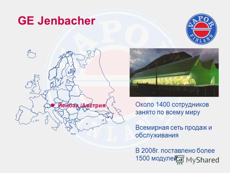 GE Jenbacher Около 1400 сотрудников занято по всему миру Всемирная сеть продаж и обслуживания В 2008г. поставлено более 1500 модулей Йенбах /Австрия