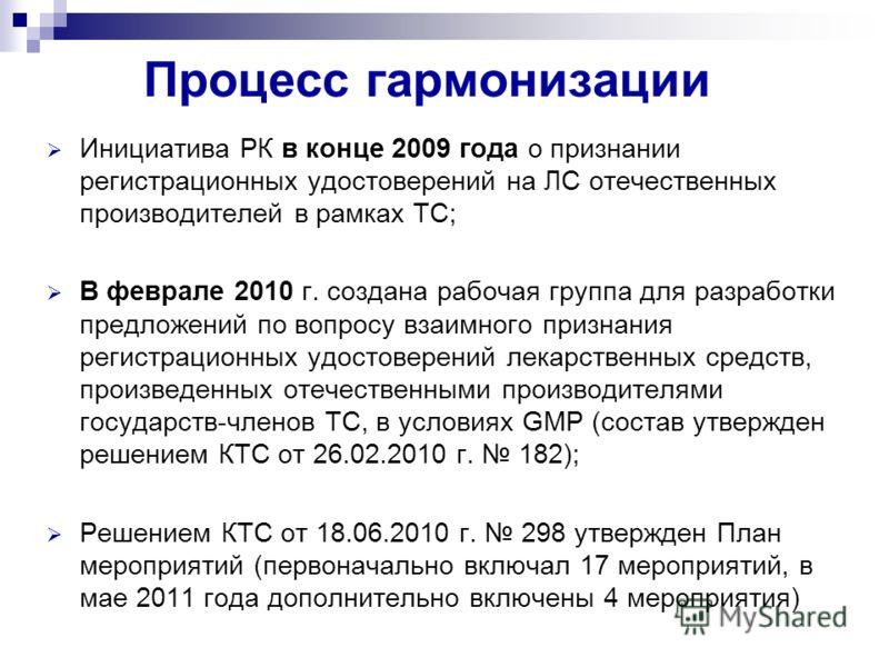 Процесс гармонизации Инициатива РК в конце 2009 года о признании регистрационных удостоверений на ЛС отечественных производителей в рамках ТС; В феврале 2010 г. создана рабочая группа для разработки предложений по вопросу взаимного признания регистра