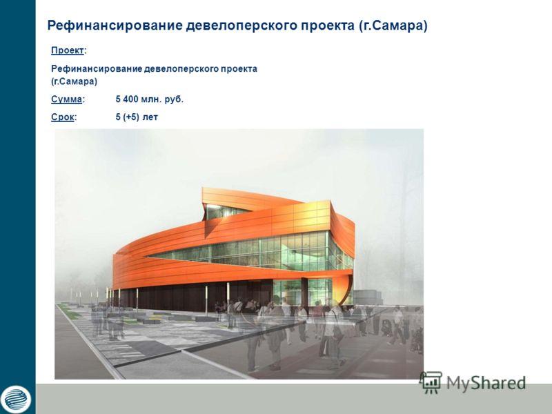 Проект: Рефинансирование девелоперского проекта (г.Самара) Сумма: 5 400 млн. руб. Срок: 5 (+5) лет Рефинансирование девелоперского проекта (г.Самара)