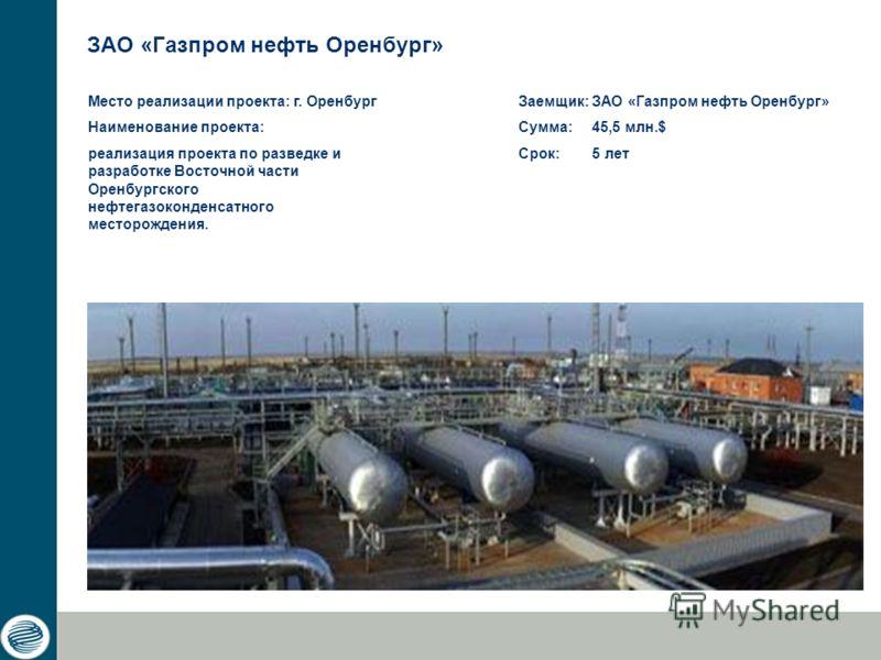 ЗАО «Газпром нефть Оренбург» Заемщик: ЗАО «Газпром нефть Оренбург» Сумма: 45,5 млн.$ Срок: 5 лет Место реализации проекта: г. Оренбург Наименование проекта: реализация проекта по разведке и разработке Восточной части Оренбургского нефтегазоконденсатн