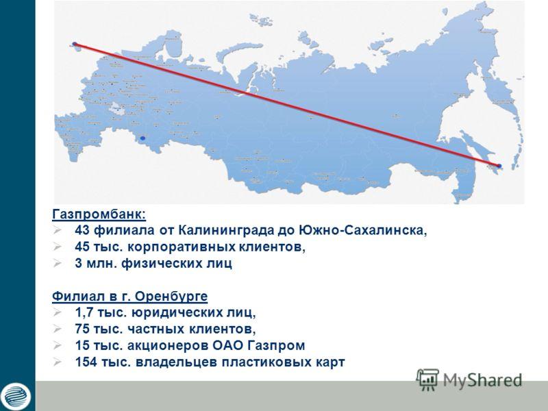 Газпромбанк: 43 филиала от Калининграда до Южно-Сахалинска, 45 тыс. корпоративных клиентов, 3 млн. физических лиц Филиал в г. Оренбурге 1,7 тыс. юридических лиц, 75 тыс. частных клиентов, 15 тыс. акционеров ОАО Газпром 154 тыс. владельцев пластиковых
