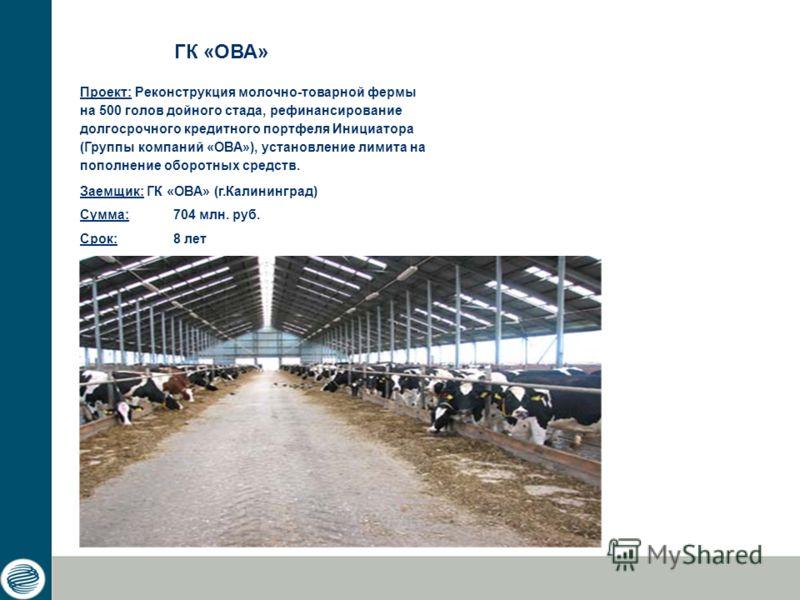 Проект: Реконструкция молочно-товарной фермы на 500 голов дойного стада, рефинансирование долгосрочного кредитного портфеля Инициатора (Группы компаний «ОВА»), установление лимита на пополнение оборотных средств. Заемщик: ГК «ОВА» (г.Калининград) Сум
